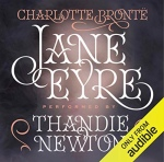 Jane Eyre audible audiobook cover written by Charlotte bronte narrated by thandie newton